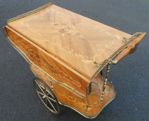 Italian Inlaid Walnut Brass Framed Dropleaf Tea Trolley